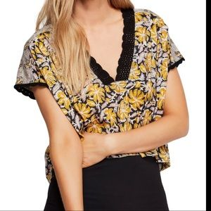 Free People Leilani paisley crop lace trim Top Nwt